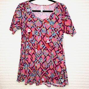 LulaRoe Perfect T Purple Diamond Floral Shirt